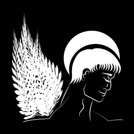 Black-and-white graphics, art - heavenly patron, guardian angel