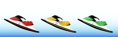 Set of three jet skis - red, yellow and green on a blue background. Gradient. Sport extreme hobby scooter Ilustracja
