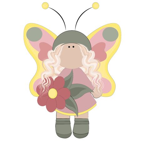 Fairy with yellow wings and a pink dress with a flower in her hand Girl fairy character butterfly sorceress vector children illustration drawing
