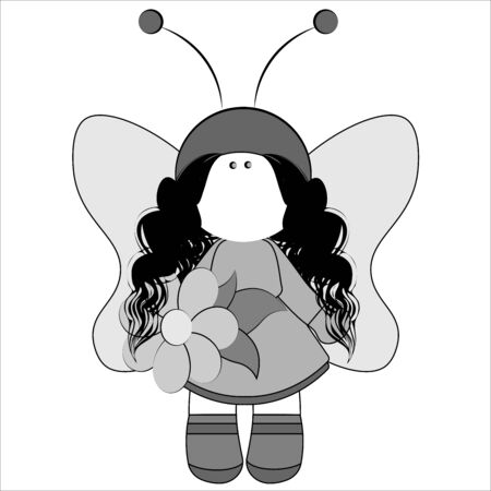 Fairy with wings in a magnificent dress and with a flower in her hand - shades of gray. Girl fairy character butterfly sorceress vector children illustration drawing