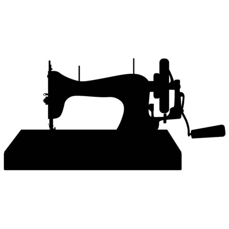 Rare sewing machine with manual drive - vector illustration. Theyre going against a white background. Handicrafts, sewing, hobbies Иллюстрация