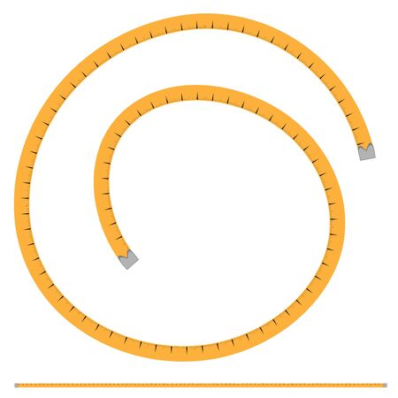 Illustration, vector pattern - orange tailor meter, centimeter - isolate on a white background. Tailor accessories, accessories for sewing, needlework, hobbies.