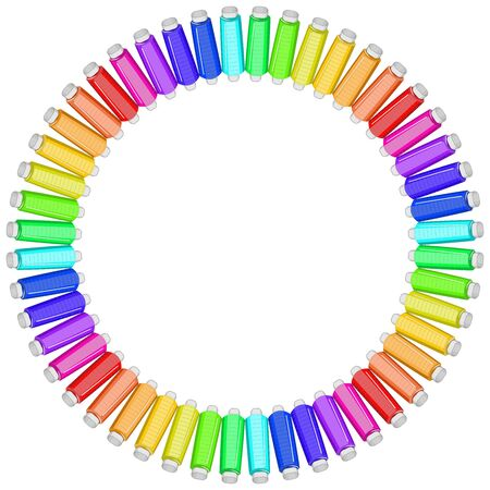 Vector illustration for a needlework project - set of colored threads in the form of a round frame. Isolate on a white square background.