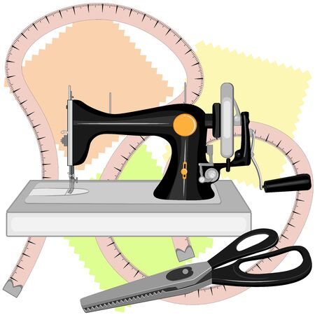 A black old sewing machine, a tailor s centimeter, and tailors large scissors for sewing with zigzag blades and black handles lie on three multi-colored shreds.