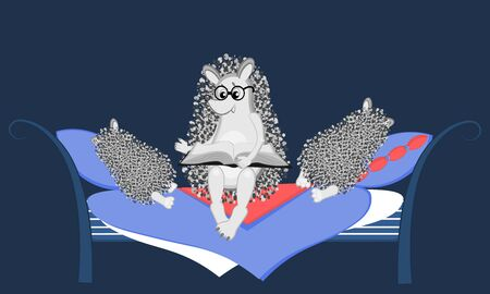 Vector illustration - an adult hedgehog in glasses reads at night sitting on the bed a book sleeping on pillows children 向量圖像