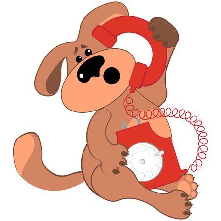 Sad or puzzled dog talking on a rare red phone. Hello, support Illusztráció
