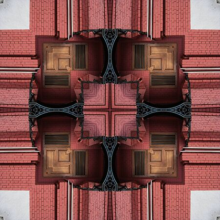 A pattern from the photo, a kaleidoscope - an element for a patchwork. The architectural element of the wall is made of red and white brick. Design. Background for site or blog, wallpaper, textiles, packaging