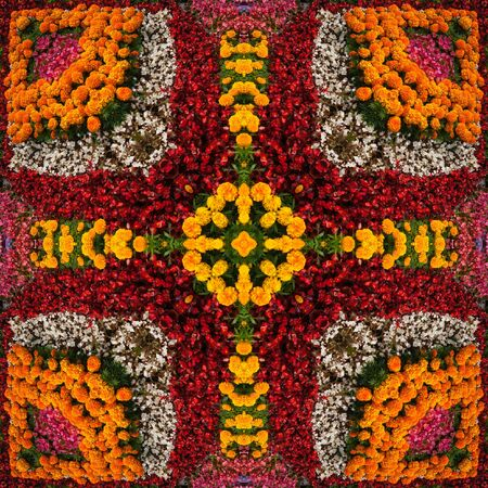Bright contrast kaleidoscope, an element of seamless pattern of flowers, square, handkerchief, tile. Background for site or blog, wallpaper, textiles, packaging