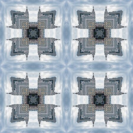 A seamless pattern, a design element for a website or blog post. Textiles, wallpaper, packaging. A handkerchief or tile. Kaleidoscope. Standard-Bild