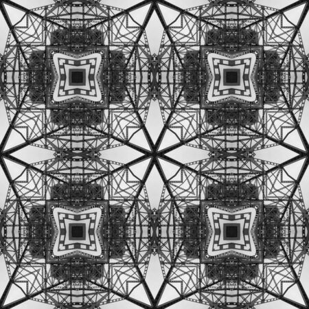 Kaleidoscope from industrial photo - architecture, metal lace, pattern, patchwork. Background for site or blog, packaging, textiles. Grayscale. Black and white pattern. Contrast, geometry, harmony