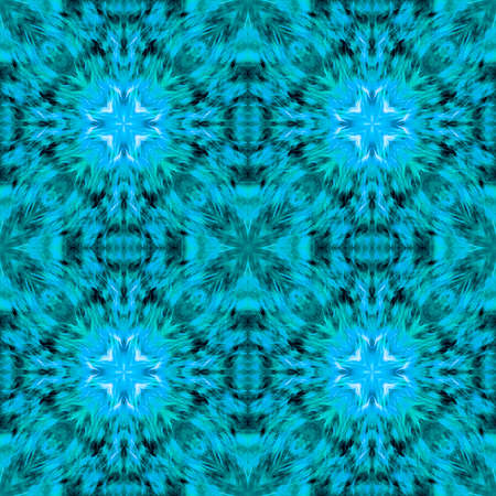 Computer graphics, pattern - kaleidoscope, seamless surreal magical texture in shades of blue. The tile is square. Background for a site or blog, drawing for textiles, wallpaper, packaging.