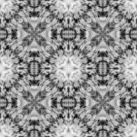 Computer graphics, pattern - kaleidoscope, seamless surreal magic texture in shades of gray. The tile is square. Background for a site or blog, drawing for textiles, wallpaper, packaging.