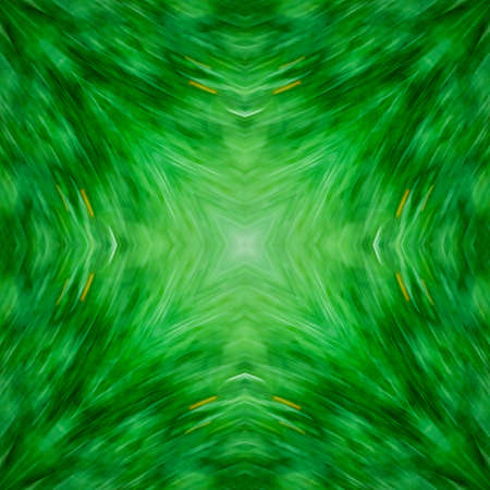 Computer graphics, illustration - a square pattern, kaleidoscope in different shades of green. Emerald. Magic, surreal, patchwork