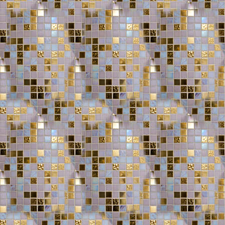 Seamless pattern  of gold, blue and white tiles