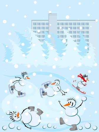 Snowmen and winter sports - snowballs, skates and skis. Snowfall. New year or christmas. Festive postcard.