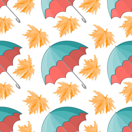 Turquoise umbrella and yellow maple leaf - autumn has come. Pattern on a square background.