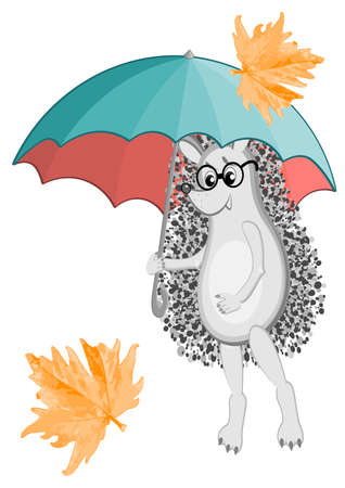 Autumn season, hedgehogs, rain umbrella and maple leaf. Golden autumn, back to school, walk under an umbrella. Childrens illustration, postcard. Иллюстрация