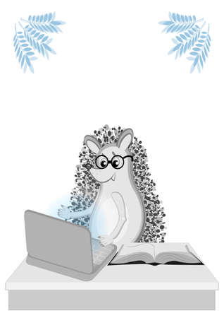 Back to school. Distance learning. Hedgehogs at the computer. Working on remote access. A book or a book on the table. Card. Illustration for children Иллюстрация