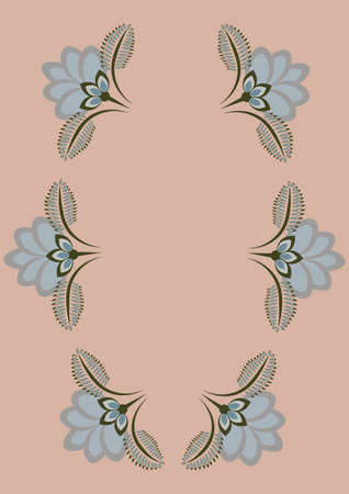 Cover for a book or notepad, postcard - stylized flowers and plants. Frame. Vertical drawing format A4 delicate shades of beige and blue