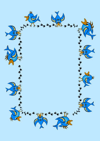 Frames, pattern - birds leave footprints in the snow. The season is winter. Postcard, book or notepad cover. Blue.