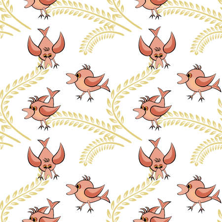 Seamless pattern, pattern, childrens illustration - birds and spikes. Drawing for textiles, wallpaper, packaging, background for the site or blog, screensaver on the phone. Иллюстрация