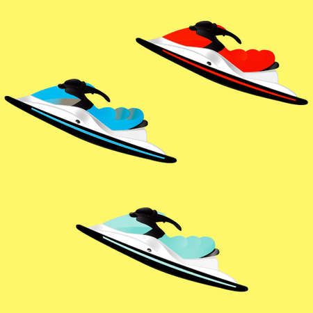 Illustration on the theme of summer extreme sports - three jet skis on a square background. Brightness, color, contrast