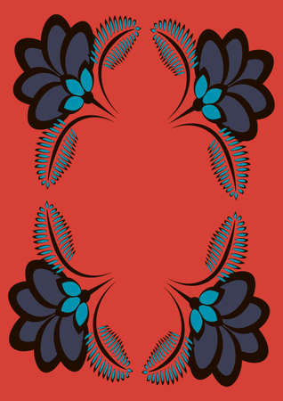 Cover for a book or notepad, postcard - stylized flowers and plants. Frame. Vertical drawing format A4
