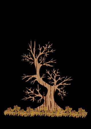 Styling is the silhouette of a tree on a black background. Graphics, minimalism. Seasons - spring, summer, autumn, winter. Postcards or posters, book or notepad cover. Childrens illustration Иллюстрация