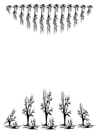 Black-and-white graphics, a pattern with symbols of black trees on a white background. Covers for books or notebooks, postcards, posters. Minimalism, pastiche.