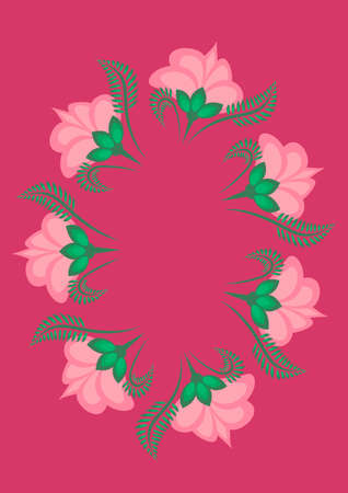 Cover for a book or notepad, postcard - stylized flowers and plants. Frame. Vertical drawing format A4 Fuchsia, pink and green