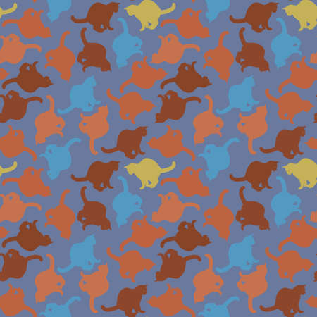 Seamless texture or endless pattern - colored cats. Wallpaper, background for a site or blog, textiles, packaging. Pets, cats.