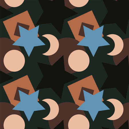 Seamless texture, pattern on a square background - colored geometric shapes - stars, circles, squares, crescents. Background for a site or blog, wallpaper, textiles. Packaging.