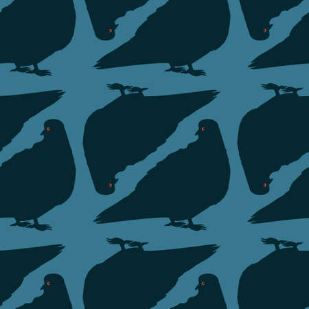 The seamless texture on the square background - pigeons. Silhouette Bird. Background for website or blog, wallpaper, textiles, packaging.