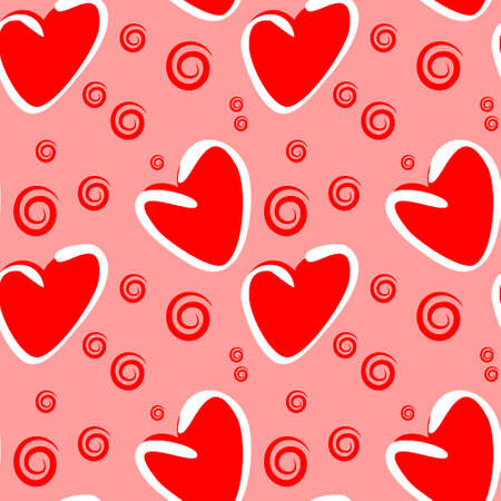 Seamless pattern, endless texture on a square background - stylized hearts - color graphics. A fabulous world of love. Surreal. Design elements. Background for website, blog, wallpaper, textiles, packaging.
