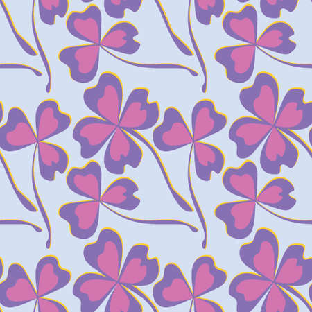 Seamless pattern, endless texture on a square background - stylized shamrock and magic four-leaf among them - graphics. Fabulous plant world. Surreal. Design elements. Background for website, blog, wallpaper, textiles, packaging.