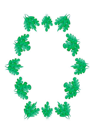 Frames of green oak leaves on a white sheet of A4 format, pastiche, graphics on the theme of the plant. Designing notebook covers, mobile apps, websites, design elements