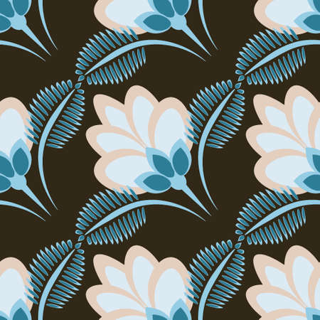 Seamless pattern, endless texture - stylized flowers - graphics. Plants. Design elements - Wallpaper, textiles, packaging, background for sites or mobile apps Иллюстрация