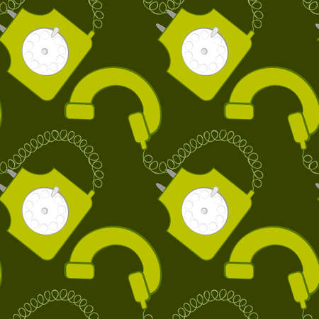 Seamless pattern, endless texture on a square background - stylized rare disc phones - graphics. Communication, conversation, communication. Design elements. Background for website, blog, wallpaper, textiles, packaging