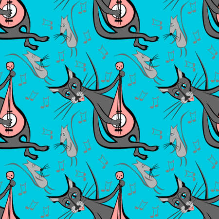 Seamless pattern, endless texture on a square background - cat with guitar and dancing mice - graphics. Party, fun, dancing, music, animals. Design elements. Background for website, blog, wallpaper, textiles, packaging.