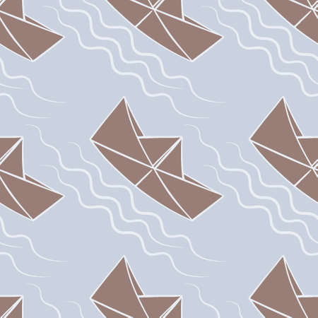 Seamless pattern, endless texture, illustration on a square background - stylized paper boats - graphics. Sea or ocean, water, free swimming, childhood, origami. Design elements, wallpapers, textiles, packaging, background for websites or mobile applications