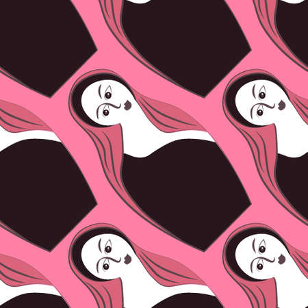 Seamless pattern, endless texture - Illustration on a square background - stylized wooden dolls with a female face, matryoshka - graphics. Toy, woman, tradition. Design elements - Wallpapers, textiles, packaging, background for websites or mobile applications