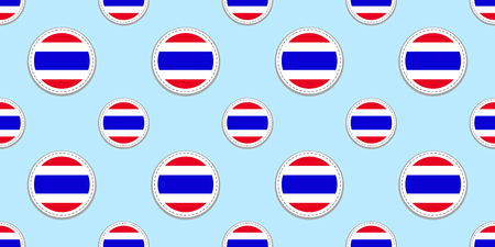 Thailand round flag seamless pattern. Siam background. Vector circle icons. Geometric symbols. Texture for sports pages, competition, games, travelling, school design elements. patriotic wallpaper