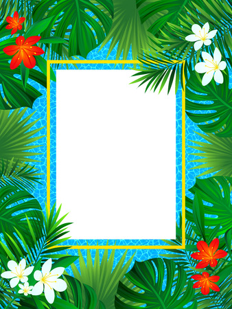 tropical flowers frame. Tropic poster vector illustration. background with exotic plant, palm leaf, swimming pool texture. Vertical border frame. beautiful card for summer, travel, invitate design.