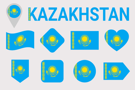 Kazakhstan, flag vector set. Different geometric shapes. Flat style. Kazakh flags collection. can use for sports, national, travel, geographic design elements. isolated icons with state name