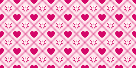 Pink love hearts seamless pattern. St. Valentines Day background. Romantic repeated texture for greeting cards, invitation and holiday design, clothes prints, wrapping paper. Vector illustration