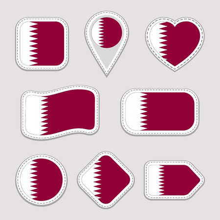Qatar flag stickers set. Qatari national symbols badges. Isolated geometric icons. Vector official flags collection. Sport pages, patriotic, travel, school, design elements. Different shapes Иллюстрация