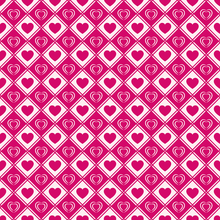Love hearts seamless pattern. Valentines Day background. Romantic repeated texture for greeting cards, invitation and holiday design, cloth prints, wrapping paper. Vector illustration. Bright color Ilustração