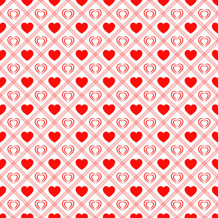 Red love hearts repeated texture. Saint Valentines Day vector background. Romantic seamless pattern for greeting cards, invitation and holiday design, clothes prints, wrapping paper Ilustração