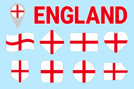 England flag vector set. Different geometric shapes. Flat style. English flags collection. Can use for sports, national, travel, geographic design elements. isolated icons with state name Vektorové ilustrace