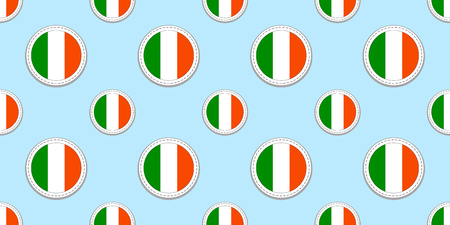 Ireland round flag seamless pattern. Irish background. Vector circle icons. Geometric symbols. Texture for sports pages, competition, games. travelling, design elements. patriotic wallpaper